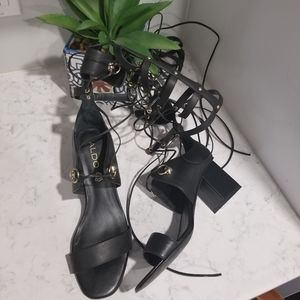 BLACK LEATHER LACE UP HEELED SANDALS
